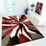 Modern Rug Red Grey Black Contour Cut Pattern Living Room Carpet Mat Small Large