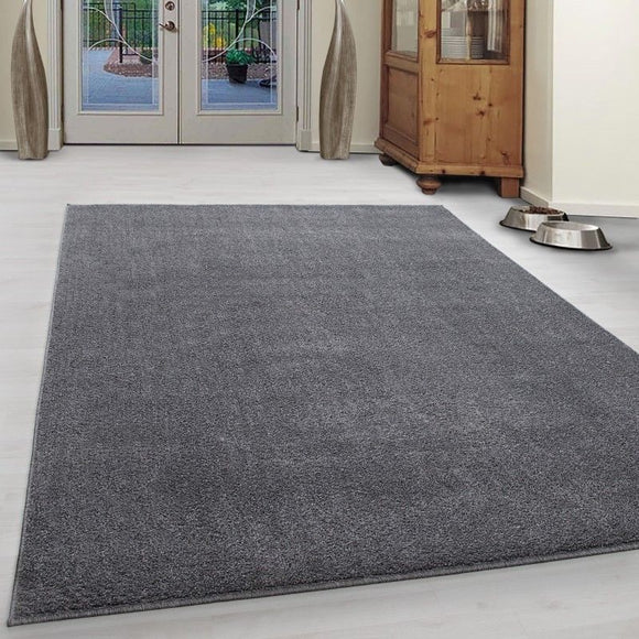 Grey Rug Modern Monochrome Plain Bedroom Floor Carpet Small Large Woven Hallway Runner Mat for Living Room Lounge
