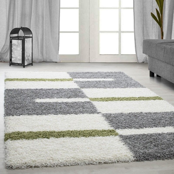 Fluffy Rugs Deep Pile Shaggy Cream Grey Green Geometric Carpet Living Room Mats