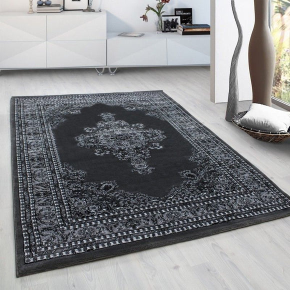 Grey Traditional Rug Oriental Pattern Border Design Carpet Dining Room Area Mats