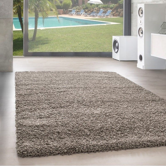 Fluffy Rug Grey Beige Deep Pile Shaggy Mats Modern Plain Room Carpet Small Large