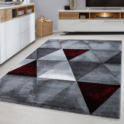 Modern Geometric Rug Red Black Grey Diamond Pattern Mat Dining Room Area Mat New