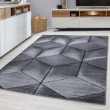 Abstract Rug Grey Black Modern Geometric Pattern Mat Small Large Bedroom Carpets