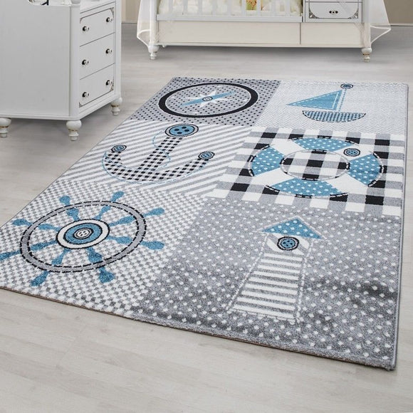 Kids Rug Boys Nursery Grey Blue Marine Theme Mat Childrens Play Baby Room Carpet