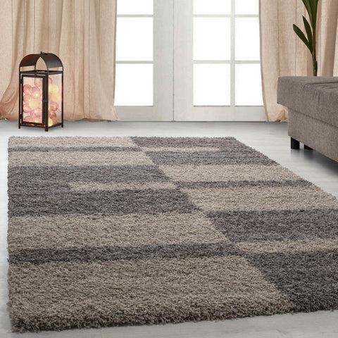 Fluffy Rug Modern Grey Beige Deep Pile Shaggy Carpet Bedroom Floor Geometric Mat