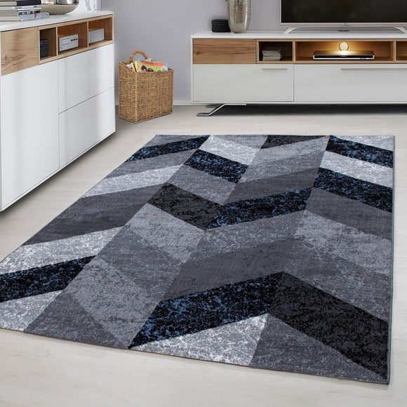 Geometric Rug Grey Blue Zig Zag Pattern Carpets Bedroom Floor Modern Chevron Mat