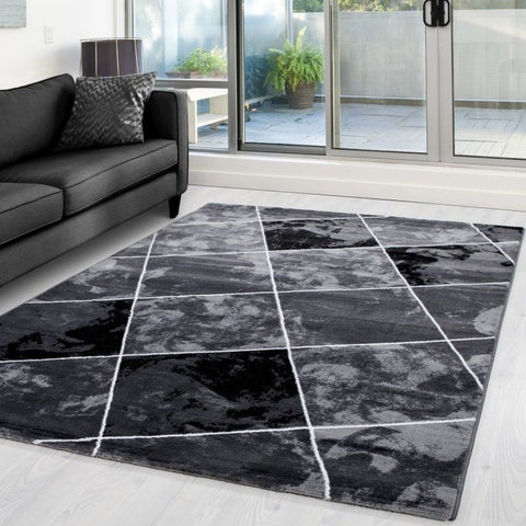 Check Rug Black and Grey Geometric Pattern Mat Small X Large Room Hallway Carpet