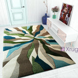 Modern Rugs Green Beige Blue Thick Carpet Contour Pattern Abstract New Room Mats