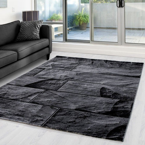 Modern Rugs Black Grey Stone Design Pattern Carpets Small Large Room Runner Mat