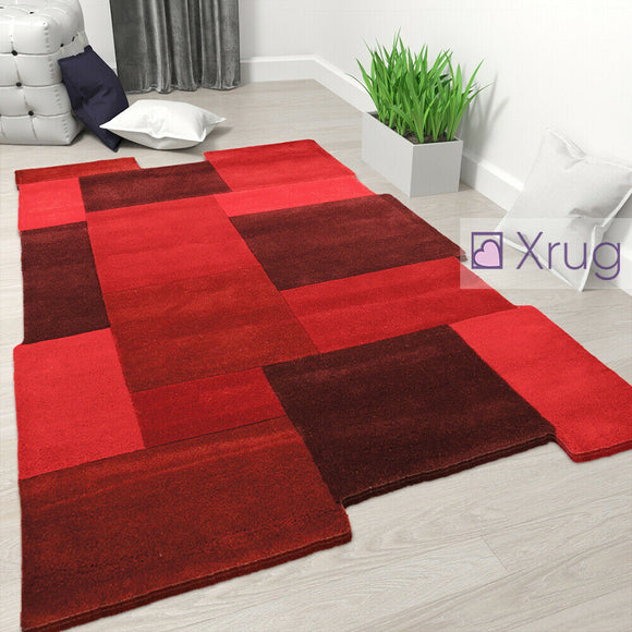 Red Wool Rug Thick Geometric Carpet Check Bedroom Living Room Mat Small X Large