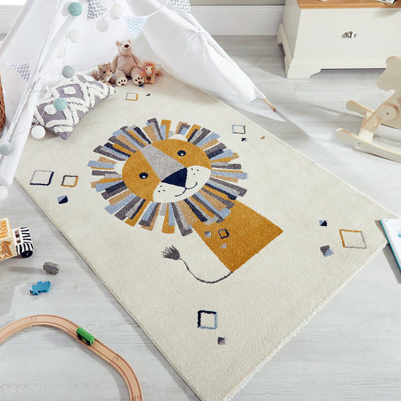 Baby Nursery Rug Cream White Kids Animal Carpet Lion Childrens Bedroom Play Mat