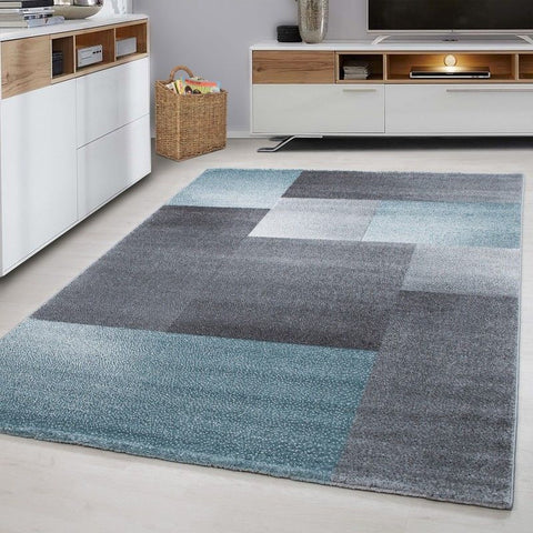 Modern Rug Checkered Grey Blue Ceometric Carpet Bedroom Floor Mat Small Large XL
