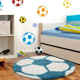 Boys Football Rug Round Fluffy White Blue Kids Mat Childrens Playroom Carpet New