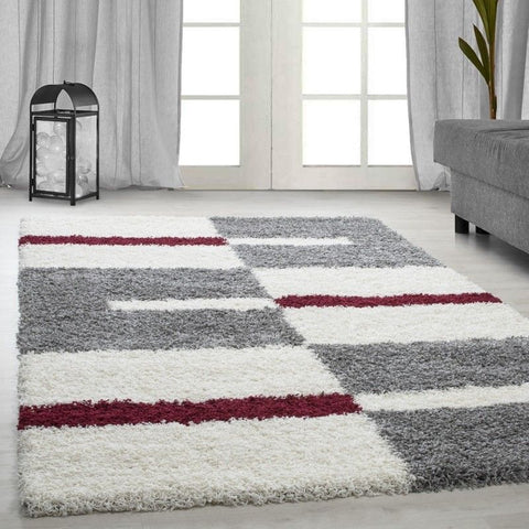Modern Rug Fluffy Shaggy Grey White Red Pattern Pattern Mat Room Hallway Carpet