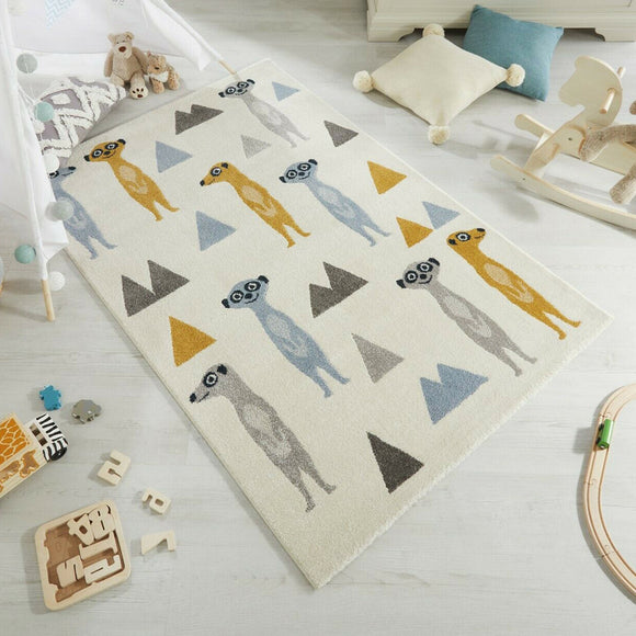 Childrens Animal Rug Cream Kids Nursery Carpet Baby Bedroom Mat 80x120 120x170