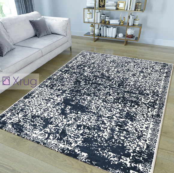 Vintage Rugs Soft White Navy Blue Microfiber Carpet Large Living Room Floor Mat