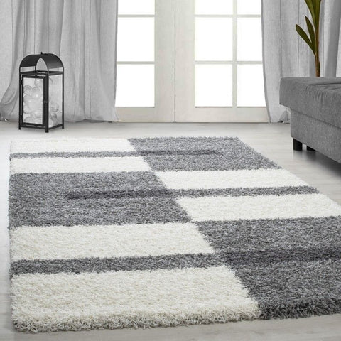 Shaggy Rug Grey White Geometric Fluffy Mat Small Large Lounge Floor Carpet Hall