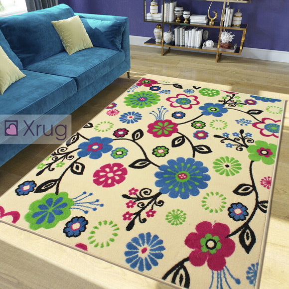Cream Floral Rug Blue Pink Green Modern Pattern New Mat Large Living Room Carpet