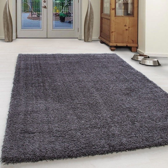 Shaggy Rug Grey Plain Bedroom High Pile Carpet Small X Large Round Fluffy Mats