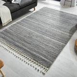 Grey Rug Bedroom Modern Striped Soft Pile Carpet Tassels Large Small Woven Mat