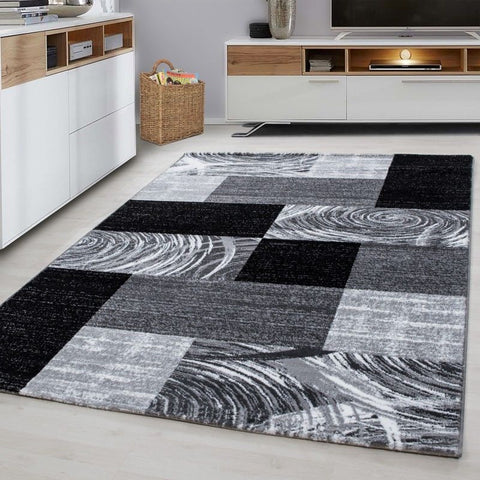 Grey Geometric Rug Small X Large Checkered Pattern Mat Living Room Runner Carpet
