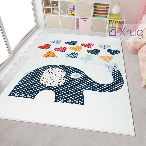 Elephant Rug White Cream Blue Red Yellow Kids Bedroom Baby Nursery Carpets Childrens Animal Unisex Playroom Floor Mat
