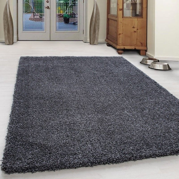 Shaggy Rug Modern Grey Bedroom Long Pile Carpet Round Fluffy New Mat Small Large