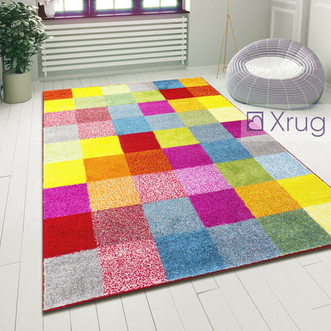 Geometric Rug Multi Colour Checkered Pattern Carpet Small Large Modern Room Mats