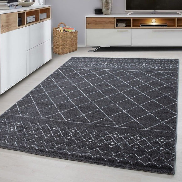 Modern Grey Rug Small Extra Large Check Pattern Geometric Mat Living Room Carpet