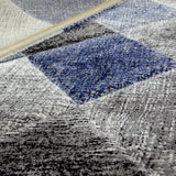 Check Rug Grey Blue Black Hand Carved Modern Pattern Small Large Woven Rugs Carpets Floor Mats