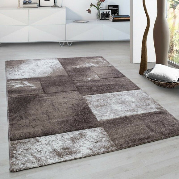 Geometric Rug Modern Brown Beige Cream Check Carpet Small Large Room Hallway Mat