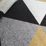 Yellow Grey Rug Small Large Geometric Patterned Carpet Mat Floor