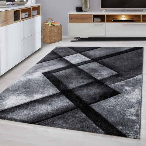 Modern Rug Black Grey Geometric Pattern Carpet Room Runner Area Mats Small Large