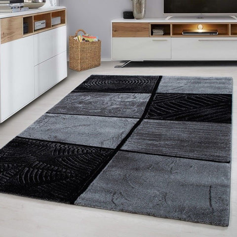 Check Rug Modern Black and Grey Geometric Pattern Mat Living Room Hallway Carpet