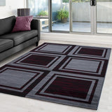 Geometric Rug for Living Room Grey Red Check Mat Modern Small Large Hall Carpets