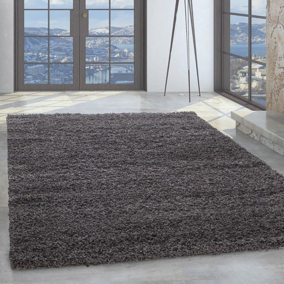Shaggy Rug Grey Fluffy Woven Mat Small Extra Large Modern Living Room Carpet New