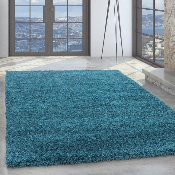 Deep Pile Shaggy Rug New Modern Blue Fluffy Floor Carpet Plain Living Room Mat
