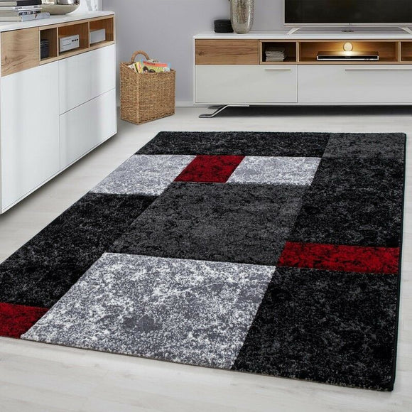Modern Rugs Black Grey Silver Red Check Pattern Mat Geometric Living Room Carpet