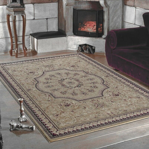Oriental Rugs Modern Beige Floral Pattern Mat Small X Large Living Room Carpets