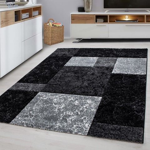 Check Rug New Modern Black and Grey Geometric Pattern Carpet Room Floor Hall Mat