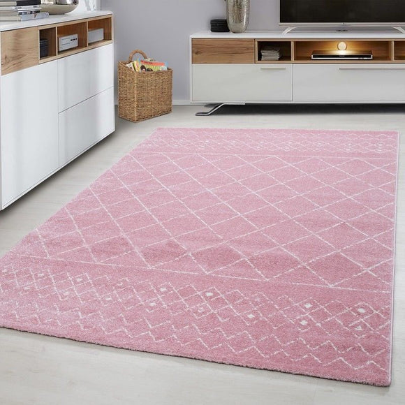 Pink Rug Mat for Living Room Modern Checkered Pattern Bedroom Carpet Small Large