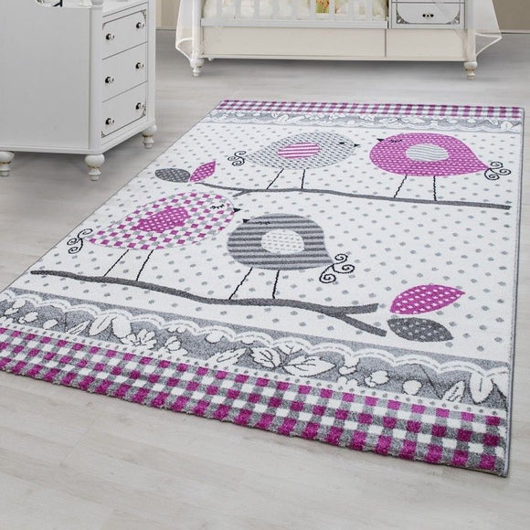 Nursery Rug White Grey Purple Bird Pattern Carpet Kids Play Childrens Animal Mat