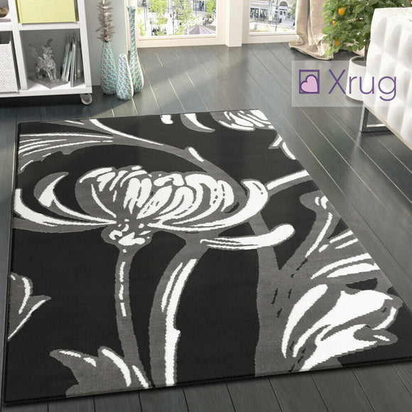 Black and Grey Rug Modern Floral Pattern Carpet Large Bedroom Floor Lounge Mats