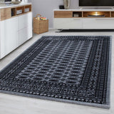 Oriental Rugs Grey Black Border Design Pattern Carpet Small Large Room Floor Mat