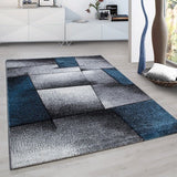 Abstract Rug Modern Grey Blue Geometric Carpet Small Large Living Room Hall Mats