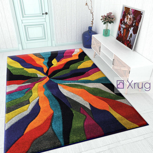 Modern Multicoloured Rugs Contour Cut Pattern Living Room Floor Mats Small Large