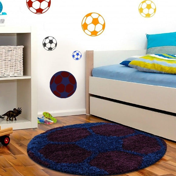 Boys Football Rug Burgundy Blue Kids Bedroom Carpet Childrens Round Fluffy Mats