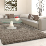 Fluffy Shaggy Rug Taupe Plain Long Pile Carpet Small Large Living Room Mats