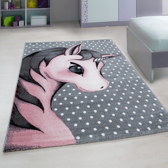 Kids Unicorn Rug Grey Pink White Baby Nursery Round Carpet Childrens Bedroom Mat