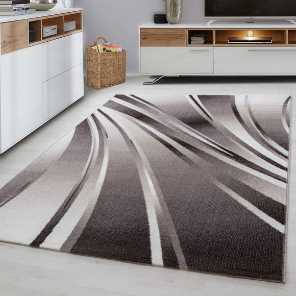 Abstract Rug Modern Brown Beige Cream Pattern Mat Small Extra Large Room Carpets